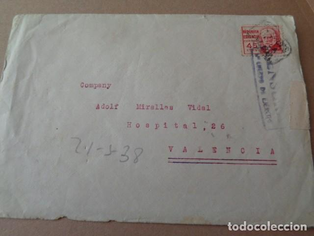 4º CUERPO DE EJERCITO. CENSURA. CARTA DIRIGIDA A VALENCIA. 1938 (Sellos - España - Guerra Civil - De 1.936 a 1.939 - Cartas)