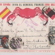 Timbres: EXTRAORDINARIA TARJETA PATRIÓTICA P.P.K.O. MARISCOS DE GALICIA. VIGO A HOLANDA. 1938 CENSURA MILITAR. Lote 276580668