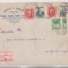 Timbres: SOBRE. CORREO AÉREO. ALICANTE A HOLANDE. 1937. CENSURA MILITAR Y RARA VIÑETA. Lote 276581798