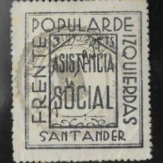 "Francobolli: SANTANDER. EDIFIL 1 US. 3 PTAS NEGRO ""FRENTE POPULAR DE IZQUIERDA"". Lote 276732578"