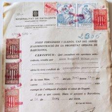 Sellos: GUERRA CIVIL DOCUMENTO CON VIÑETAS GENERALITAT DE CATALUNYA 1938. Lote 276949388