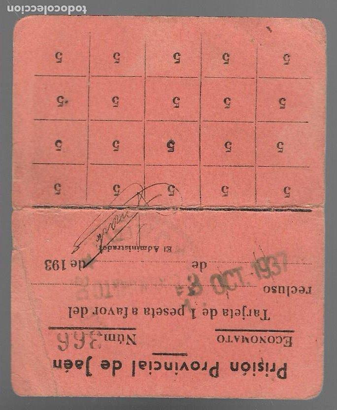 Sellos: JAEN- PRISION PROVINCIAL. ECONOMATO 1 PTA, OCTUBRE 1937, -REPUBLICA- VER FOTO - Foto 2 - 276964548