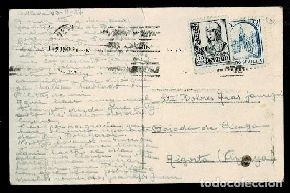 Sellos: C10-3-31 Guerra Civil Postal circulada de TABLADA A ALGORTA con viñeta PRO SEVILLA ligero cortecito - Foto 2 - 277154063