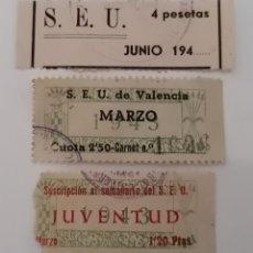 Sellos: VALENCIA. LOTE 3 CUOTAS DISTINTAS SEU 1943. ESCASAS.. Lote 277235118
