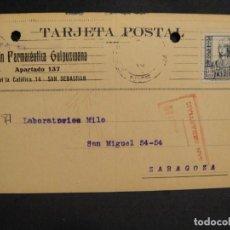 Sellos: TARJETA POSTAL - CENSURA MILITAR SAN SEBASTIAN - AÑO 1937. Lote 277553998