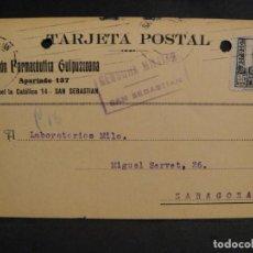 Sellos: TARJETA POSTAL - CENSURA MILITAR SAN SEBASTIAN - AÑO 1937. Lote 277554178