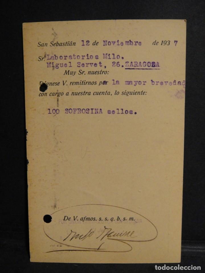 Sellos: tarjeta postal - censura militar san sebastian - año 1937 - Foto 2 - 277554178