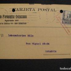 Sellos: TARJETA POSTAL - CENSURA MILITAR SAN SEBASTIAN - AÑO 1937. Lote 277554218