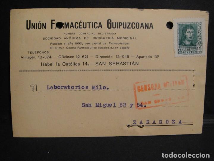 TARJETA POSTAL - CENSURA MILITAR SAN SEBASTIAN - AÑO 1938 (Sellos - España - Guerra Civil - De 1.936 a 1.939 - Cartas)
