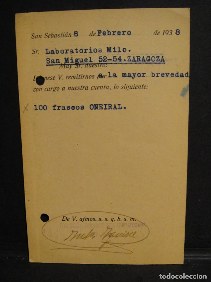 Sellos: tarjeta postal - censura militar san sebastian - año 1938 - Foto 2 - 277554378