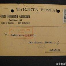 Sellos: TARJETA POSTAL - CENSURA MILITAR SAN SEBASTIAN - AÑO 1938. Lote 277554463