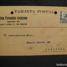 Sellos: TARJETA POSTAL - CENSURA MILITAR SAN SEBASTIAN - AÑO 1938. Lote 277554563