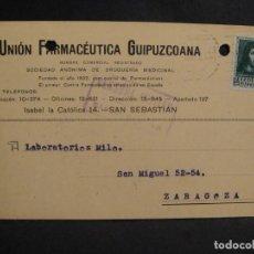 Sellos: TARJETA POSTAL - CENSURA MILITAR SAN SEBASTIAN - AÑO 1938. Lote 277554698