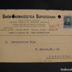 Sellos: TARJETA POSTAL - CENSURA MILITAR SAN SEBASTIAN - AÑO 1938. Lote 277554963
