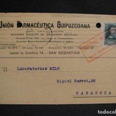 Sellos: TARJETA POSTAL - CENSURA MILITAR SAN SEBASTIAN - AÑO 1938. Lote 277555063