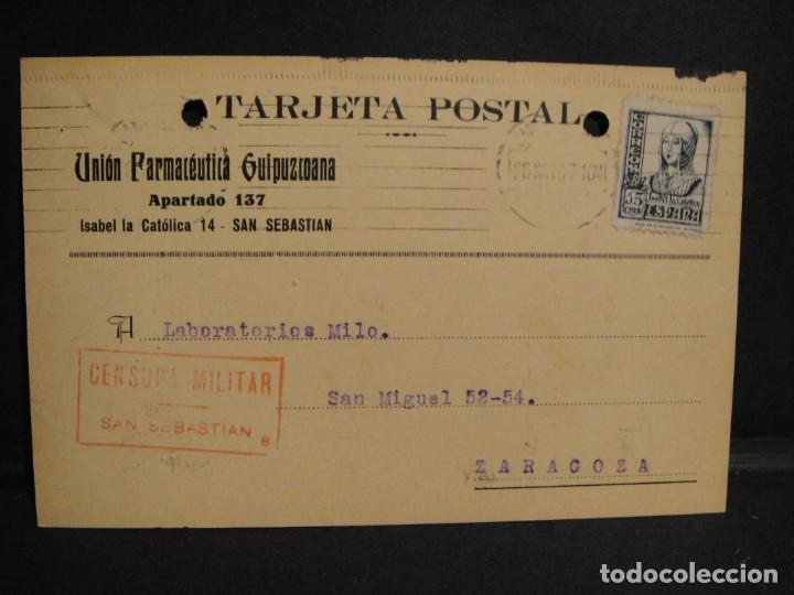 TARJETA POSTAL - CENSURA MILITAR SAN SEBASTIAN - AÑO 1937 (Sellos - España - Guerra Civil - De 1.936 a 1.939 - Cartas)