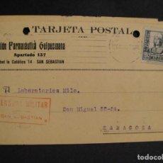 Sellos: TARJETA POSTAL - CENSURA MILITAR SAN SEBASTIAN - AÑO 1937. Lote 277555118