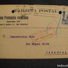 Sellos: TARJETA POSTAL - CENSURA MILITAR SAN SEBASTIAN - AÑO 1937. Lote 277555238