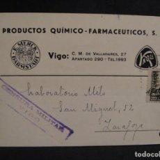 Sellos: TARJETA POSTAL - CENSURA MILITAR VIGO - AÑO 1938. Lote 277555638