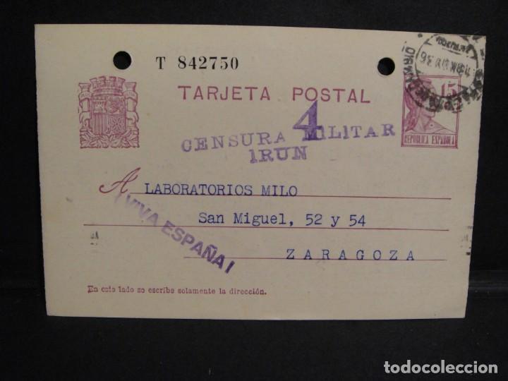 TARJETA POSTAL - CENSURA MILITAR IRUN - AÑO 1936 (Sellos - España - Guerra Civil - De 1.936 a 1.939 - Cartas)