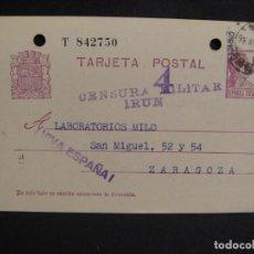 Sellos: TARJETA POSTAL - CENSURA MILITAR IRUN - AÑO 1936. Lote 277555793