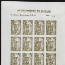 Sellos: TAFALLA (NAVARRA) EDIFIL 13S 5 CTS VERDE ACEITUNA EN HOJA COMPLETA DE 16 SELLOS NUEVOS. Lote 277617938