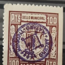Timbres: VIÑETA SELLO MUNICIPAL MATARÓ BARCELONA 100 PTAS. Lote 277710548