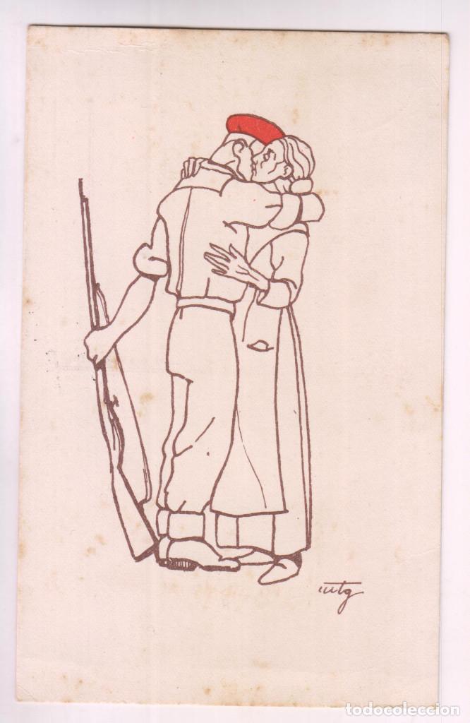 Sellos: POSTAL CARLISTA. BURGOS A CUDILLERO, ASTURIAS. CENSURA MILITAR. 1938 - Foto 2 - 278287603