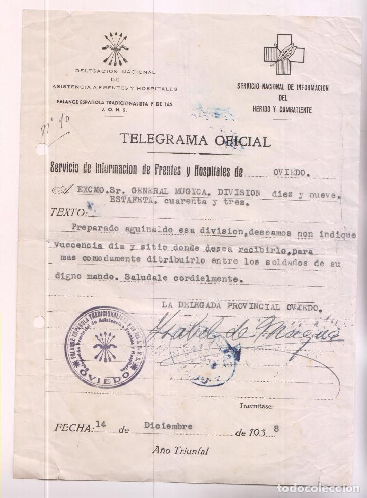 TELEGRAMA OFICIAL. FALANGE. OVIEDO, ASTURIAS. 1938. AL GENERAL MÚGICA. AGUINALDO (Sellos - España - Guerra Civil - De 1.936 a 1.939 - Cartas)
