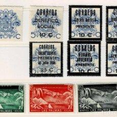 Sellos: C14-2 GUERRA CIVIL PRO LAS PALMAS DE GRAN CANARIA CONJUNTO DE 10 VALORES DIFERENTES SIN FIJASELLOS. Lote 278298843