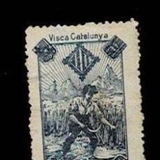 Sellos: VN1-C23 NACIONALISTAS SEPARATISTAS VISCA CATALUNYA 1900 NATHAN AZUL 2 SOBRE PAPEL GRISACEO PUNTO C. Lote 278339103