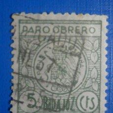 Sellos: SELLO - VIÑETA - BENEFICENCIA - PARO OBRERO -BADAJOZ - 5 CTS - VERDE. Lote 278451358