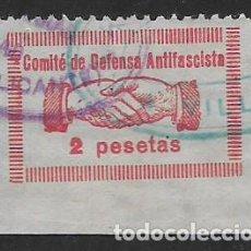 Sellos: VILLENA-ALICANTE- 2 PTA.,-,COMITE DEFENSA ANTIFASCISTA., ESQUINA PLIEGO.- SOFIMA Nº 19.VER FOTO. Lote 278546858