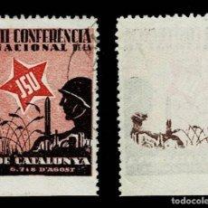 Sellos: GG-2378 GUERRA CIVIL J.S.U. III CONFERENCIA NACIANAL DE LA JSU DE CATALUNYA VARIEDAD REVERSO CALCADO. Lote 278603413