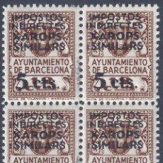 Sellos: AJUNTAMENT DE BARCELONA. SOBRECARGA XAROPS I SIMILARS 5 CTS. (BLOQUE DE 4). MNH **. Lote 278702523