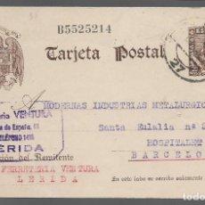 Sellos: POSTAL, CIRCULADA DE LERIDA A HOSPITALET, - VER FOTO. Lote 282073013