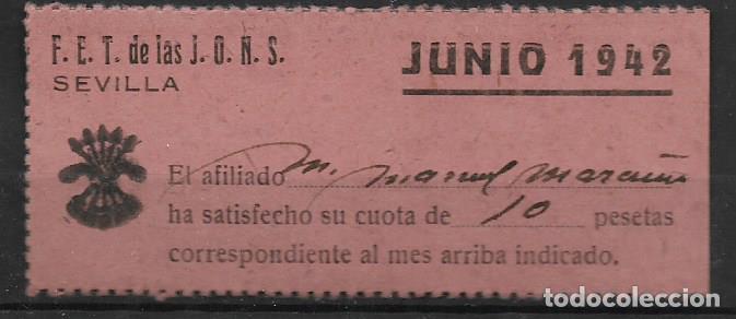 SEVILLA, F.E.T. J.O.N.S. CUOTA, VER FOTO (Sellos - España - Guerra Civil - Locales - Usados)