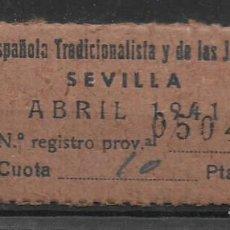 Sellos: SEVILLA, F.E.T. J.O.N.S. CUOTA, VER FOTO. Lote 282073573