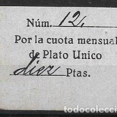 Sellos: PLATO UNICO, CUOTA MENSUAL, VER FOTO. Lote 282073793
