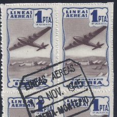 Sellos: IBERIA PRO MONTEPÍO. 1 PTA. COLOR AZUL (BLOQUE DE 4). MATASELLOS LÍNEAS AÉREAS (7-11-1945).. Lote 282193323