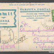 Sellos: CARTA DE CABRA-CORDOBA- A PEGALAJAR-JAEN- FECHADA 18 JULIO 1936, VER FOTOS. Lote 282492208