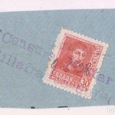 Francobolli: FRAGMENTO. LINEAL DE FERROCARRIL. 1936. VILLAFRANCA DEL CID, CASTELLÓN. CENSURA MILITAR. Lote 282598748