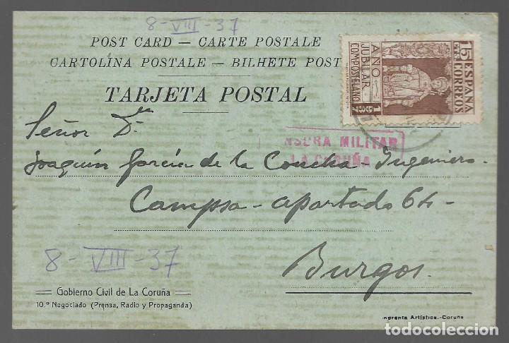 POSTAL PATRIOTICA,- GOBIERNO CIVIL LA CORUÑA,- C.M. LA CARUÑA- VER FOTOS (Sellos - España - Guerra Civil - Locales - Cartas)