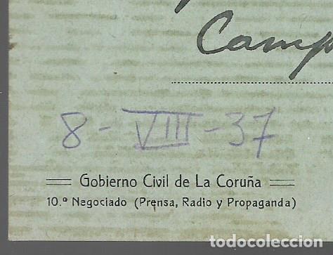 Sellos: POSTAL PATRIOTICA,- GOBIERNO CIVIL LA CORUÑA,- C.M. LA CARUÑA- VER FOTOS - Foto 2 - 284312853