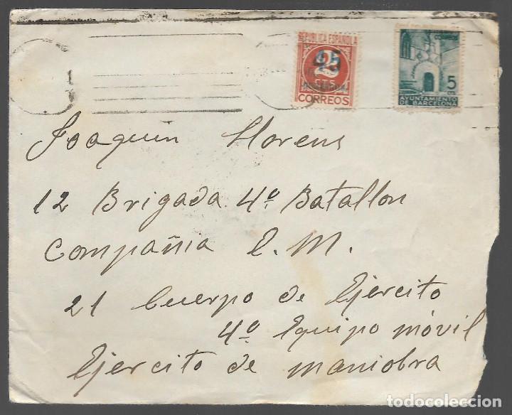 CARTA Y SOBRE,- DIRIGIDA A LAS BRIGADAS INTERNACIONALES, VER FOTOS (Sellos - España - Guerra Civil - Locales - Cartas)