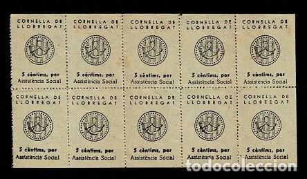 H-19 ESPAÑA GUERRA CIVIL CORNELLA DE LLOBREGAT FESOFI Nº 5 COLOR PAJA HOJA BLOQUE DE 10 EJEMPLARES (Sellos - España - Guerra Civil - Locales - Nuevos)