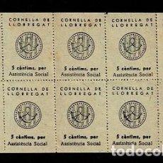 Sellos: H-19 ESPAÑA GUERRA CIVIL CORNELLA DE LLOBREGAT FESOFI Nº 5 COLOR PAJA HOJA BLOQUE DE 10 EJEMPLARES. Lote 284766653