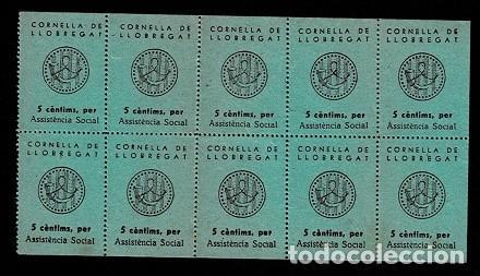 H-19 ESPAÑA GUERRA CIVIL CORNELLA DE LLOBREGAT FESOFI Nº 6 COLOR VERDE HOJA BLOQUE DE 10 EJEMPLARES (Sellos - España - Guerra Civil - Locales - Nuevos)