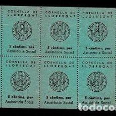 Sellos: H-19 ESPAÑA GUERRA CIVIL CORNELLA DE LLOBREGAT FESOFI Nº 6 COLOR VERDE HOJA BLOQUE DE 10 EJEMPLARES. Lote 284766908
