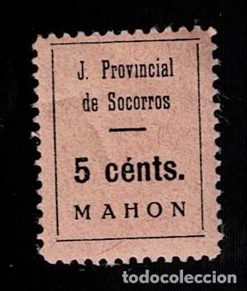 CL2-572 GUERRA CIVIL - MAHON - JUNTA PROVINCIAL DE SOCORROS FESOFI Nº 4 VALOR 5 CENTS COLOR NEGRO S. (Sellos - España - Guerra Civil - Locales - Nuevos)